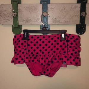 polka dot bathing suit bottoms.